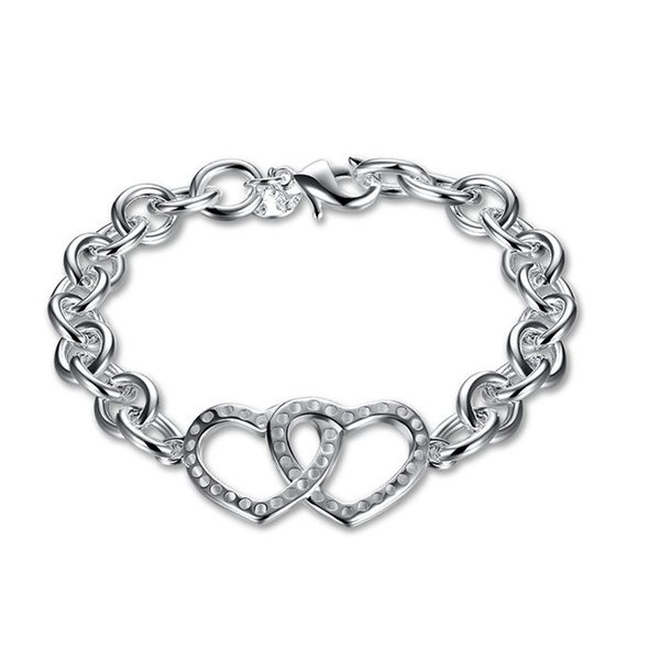 Wedding gift ! Double Heart Bracelet 925 silver bracelet JSPB316 ; Hot sale girl women sterling silver plated Charm Bracelets