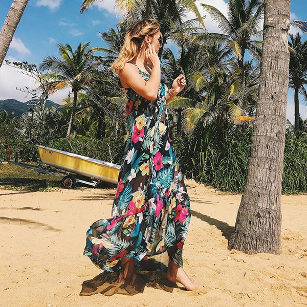 Women Summer Long Dress Elegant 2018 Boho Cover Up Casual Sexy Floral Print V Neck Strap Sleeveless Female Beach Party Holiday Clothing