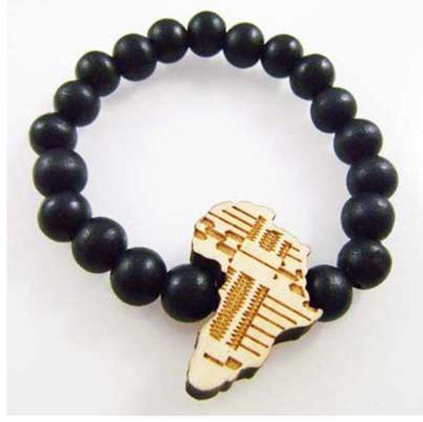 6 unid / lote buena madera NYC Chase Infinite África negro mapa colgante cuentas de madera pulsera Hip Hop joyería de moda