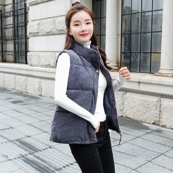 2018 Yeni Marka Sonbahar Ince Kadife Kadın Yelek Ceket Aşağı Sıcak Pamuk Mandarin Yaka Kış Fermuar Düğme Gri Yelek kadın