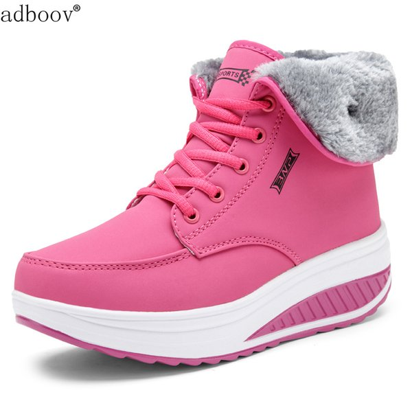 Women's Fur Lined Shape Ups High Top Walking Shoes Wedges Platform Fitness Sneakers Ladies Rocker Bottom Winter Snow Boots NEW