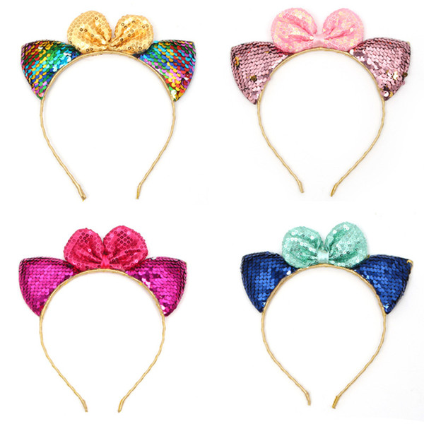 Wholesale Hair Sticks Girl party Boutique sequins Bow hair accessories baby cat ears shape children's headband 2120