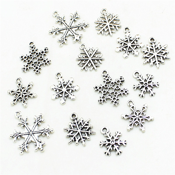 Sweet Bell Mixed 60pcs Snow Charms Pendants Beads Metal Alloy Pandent Color Antique silver Christmas charm Diy D0983