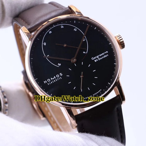 New Nomos Lambda Glashutte 954 Power Reserve Black Dial Automatic Mens Watch Rose Gold Leather Strap High Quality Cheap New Watches