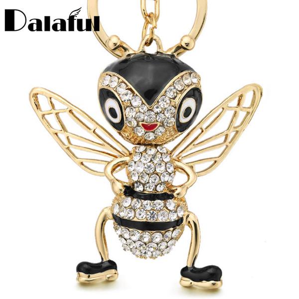 Новая мода Кристалл Bee брелки брелки эмаль брелок творческий насекомых брелок для женщин сумка кулон ювелирные изделия подарок K367