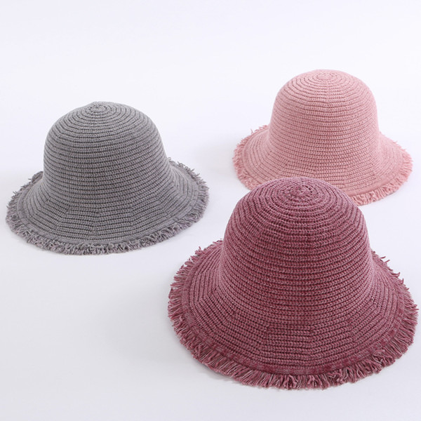 Women Winter Knitted Hats for A Girls Bucket Panama Wide Brim Wool Warm Hat College Youth Fashion Borla Elegant Korean Brand Hat