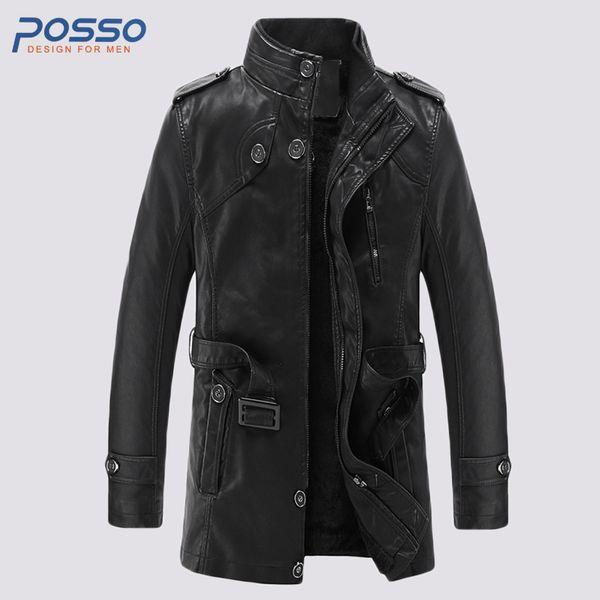 Fashion leather trench coat men long leather jacket outwear couple men's motorcycle jacket waterproof fur