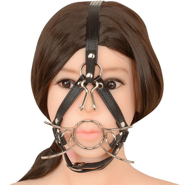 Forma de aranha de Metal Mouth Ring Mordaça Bola Aberta Com Gengiva Nose Hook brinquedos bdsm Sex Plug Plugue Cabeça Completa Harness Sex Adultos Brinquedo Y18100803