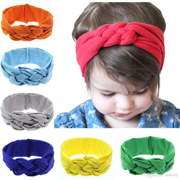 New Baby Elastico In Cotone Fasce Infant Girls Braid Twist Turbante Head Wraps Bambini Bambini Elastico Comodo Allenamento Hairband 16 Colori KHA208