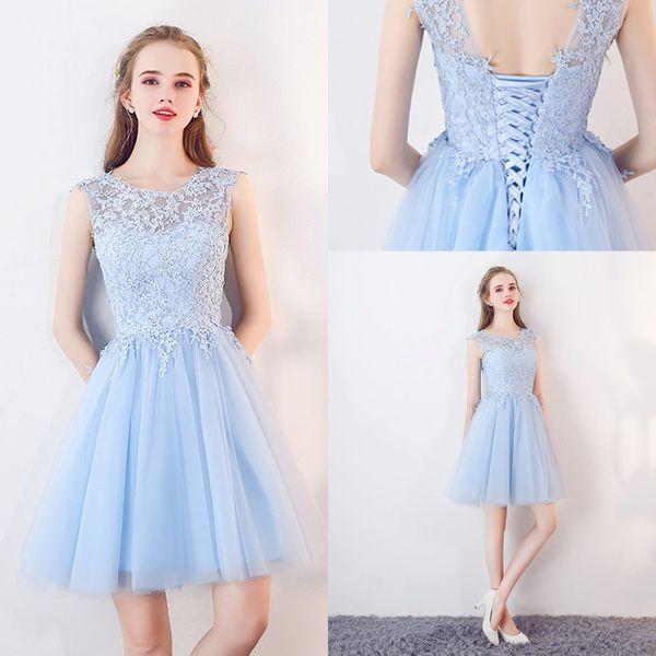 Светло-голубой мини короткие Homecoming платья для младших новый дизайнер дешевые Jewel шеи кружева топ линия тюль короткие коктейль платье