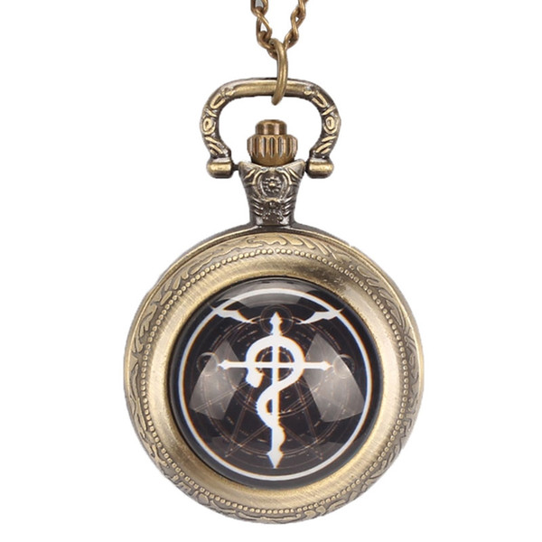 Vintage Bronze Quartz Retro Pocket Watch Vintage With Necklace Chain Gift For Men Woman Relogio De Bolso Steampunk Fob Watches