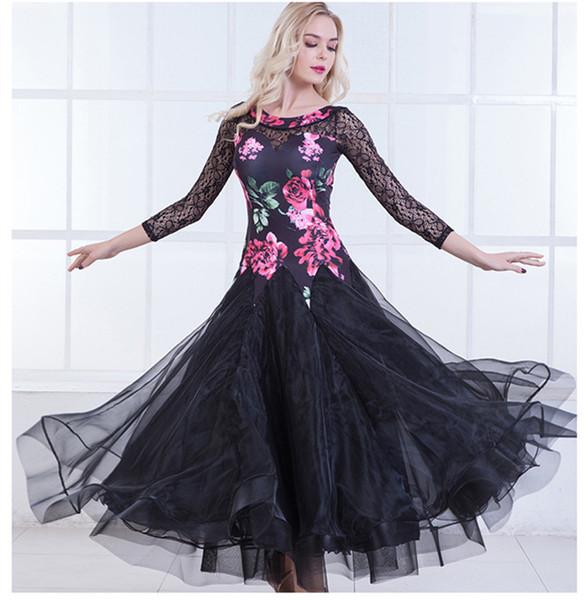 3Color nero verde per adulti / ragazze ballo vestito da ballo moderno valzer standard concorso danza abito fiore stampato pizzo cucitura abito