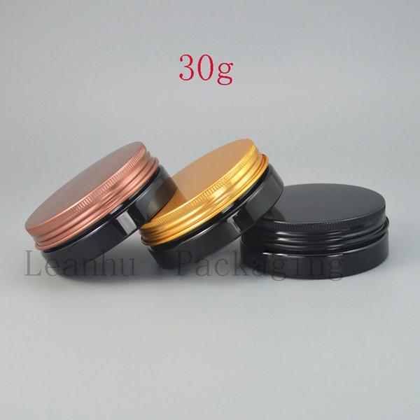 Schwarzes nachfüllbares Hautpflege-Creme-Glas mit Aluminiumkappe, DIY leere kosmetische Behälter, tragbarer kleiner Proben-Behälter der Reise 30G