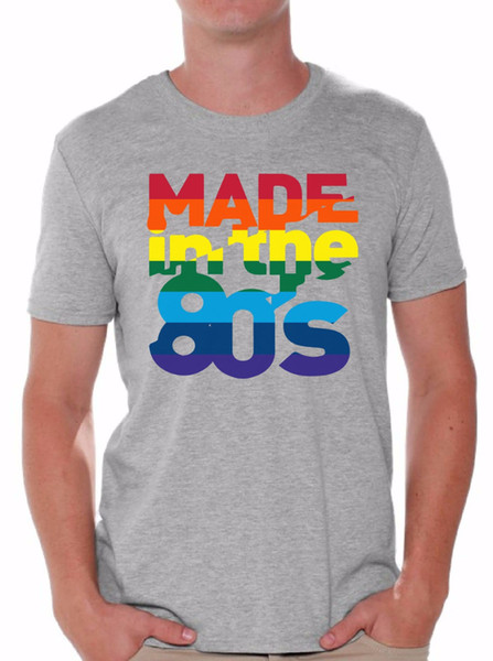Made In The 80's T Shirts Shirts Tops Men's Birthday Rainbow 80S Party Disco Casual Printed Tee