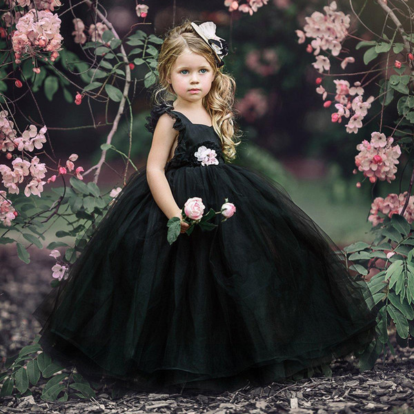 Black Ball Gown Flower Girls Dresses Puffy Tulle lace cap sleeves 2018 Cheap Girls Pageant Dresses for Gothic kid wedding gowns