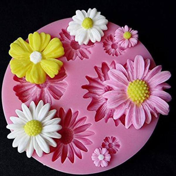 Силиконовые формы небольшой Дейзи сахар ремесло DIY Gumpaste торт украшения глины украшения инструменты подсолнечника выпечки формы Бесплатная доставка