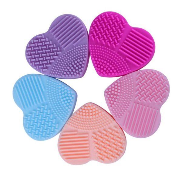 Atacado 1000 Pcs Forma de coração Pincel de Maquiagem Mais Limpo 8 Cores de Silicone Ferramenta de Limpeza Cosmética Lavagem Escova de ovo Pad Escova de Limpeza Cosmética