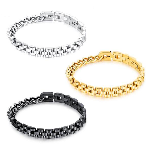 2018 Cool Male Fashion Jewelry Armband Titanium Steel Men's Bracelet Gift Simple Cuff Bangles Wristband Charm Bracelet Accessories G887F