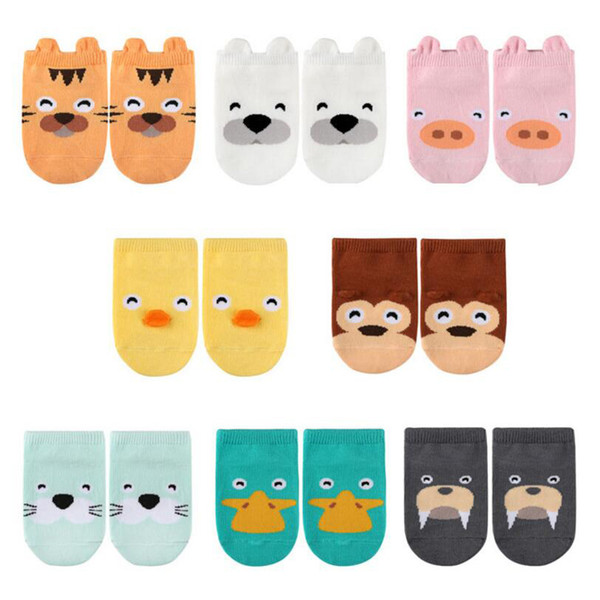 8 Pairs Baby Socks Cotton Infant Short Sock Summer And Autumn Newborn Baby Girl Boy Socks Children Dispensing Non-slip 3D Animal