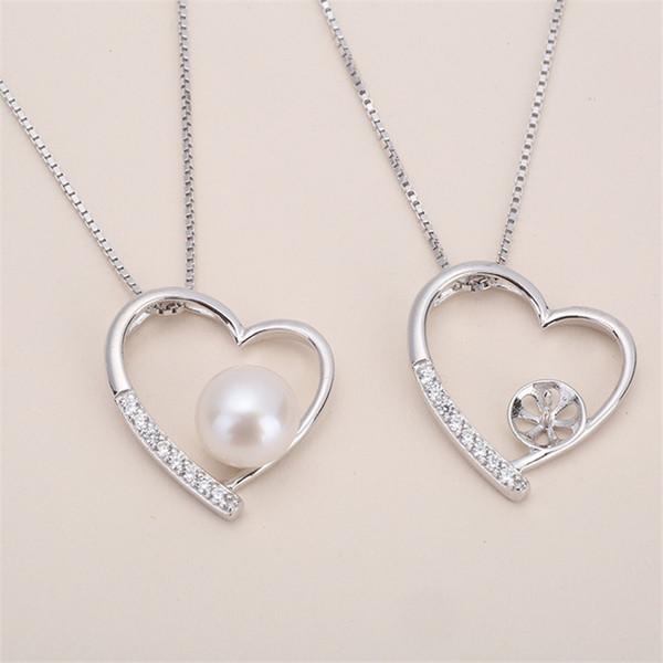 Migliore offerta ciondolo in argento sterling con zirconi, pendente pendente con motivo a cuore, collana vuota per perla, gioielli fai-da-te, regalo fai-da-te