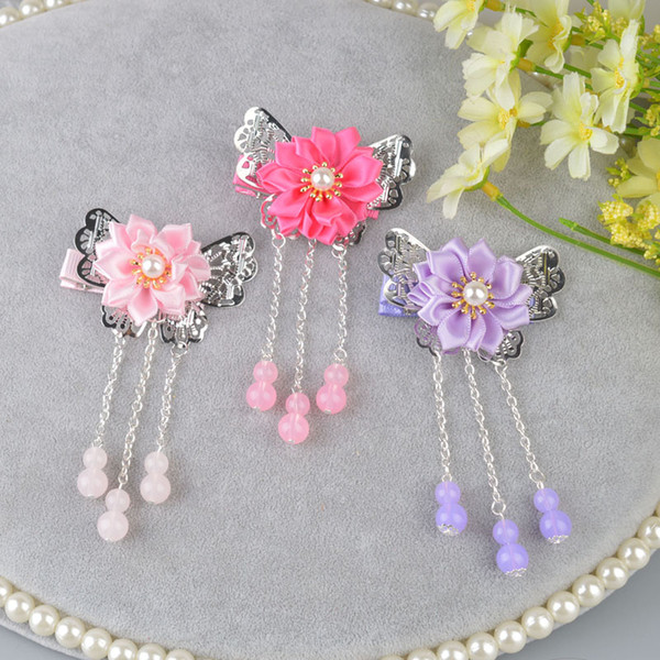 Chinese Style Flower Kids Hairpin Tassel Hair Accessory Beautiful Girls Hair Clips with beads Tassel Hair Pins