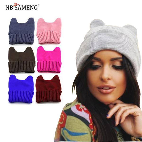Women Men Winter Warm Cat Ear Soft Unisex Crochet Knitted Hat Elastic Beanie Cap Fashion Woolen Korean Style Hats Y18102210