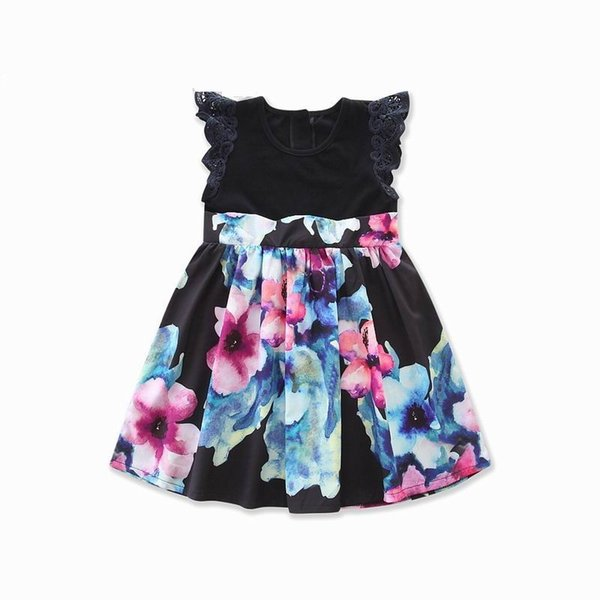 Retail Summer New Design Mother Kids Family Matching Outfits Black Print Mother Sets Daughter Dresses E17607