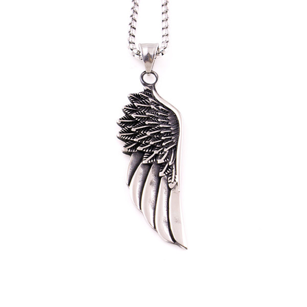 Europe and the retro style Punk Guards Necklaces Pendant For Men Stainless Steel Box Chain Guardian Angel Wings Necklace birthday Gift