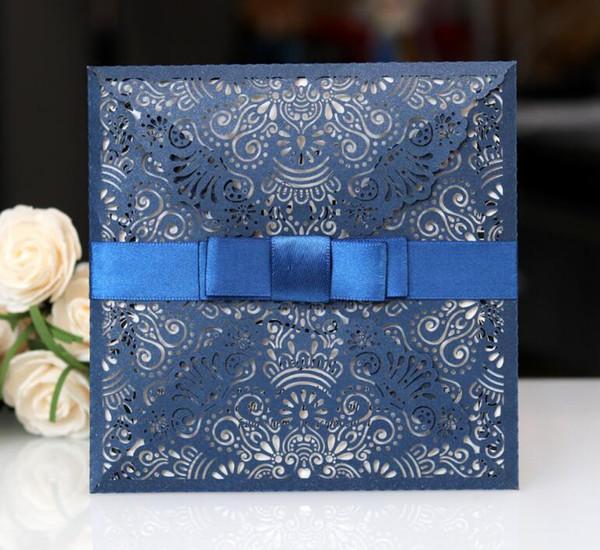 Custom Printing Dark Blue Available Invitation Laser Cut Hollow Engaganent Party Invitation Card Elegant Floral Paper Cards Wedding Invitations Online