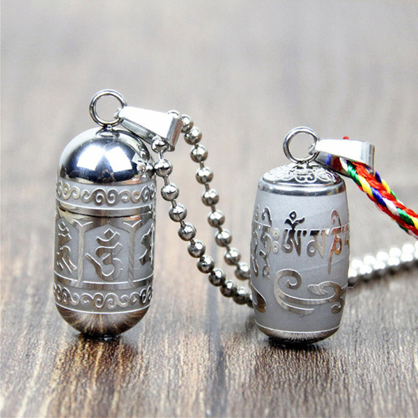 Stainless Steel Om Mani Padme Hum Openable Pendant Locket Necklace For Women Men Buddhism Party Vintage Mantra Ashes Box Urn Bottle Jewelry