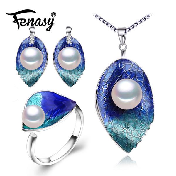 Bijoux FENASY Pearl définit les boucles d'oreille en argent Sterling 925, collier de feuille de perle naturelle pour les femmes Boucles d'oreilles cloisonné anneau ensemble
