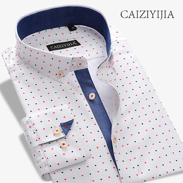 CAIZIYIJIA Hot Sale Patchwork Casual Shirt Men 2018 New Designer Long Sleeve Camisa Masculina Button Down Shirt Brand Clothing