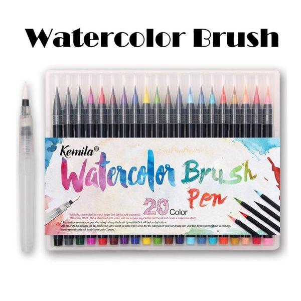 best selling kemila 20 Colors Watercolor Brush Pen Soft Fine Tip Markers Pens Paintbrush for Sketch Drawing Manga Comic Handwriting