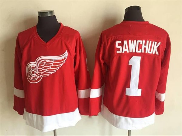 Detroit Red Wings Jersey #1 Terry Sawchuk Jersey Red 100% Stitched Hockey Jerseys