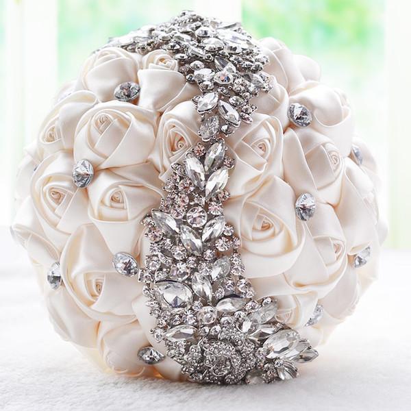 크림 새틴 로즈 신부 웨딩 부케 웨딩 장식 크리스탈 인공 꽃 들러리 신부 손을 잡고 브로치 꽃 CPA1546