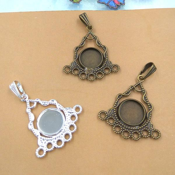 26mm Fit 10MM Round metal jewelry stamping blanks, antique bronze plated cameo cabochon setting, diy silver pendant base bezel tray vintage