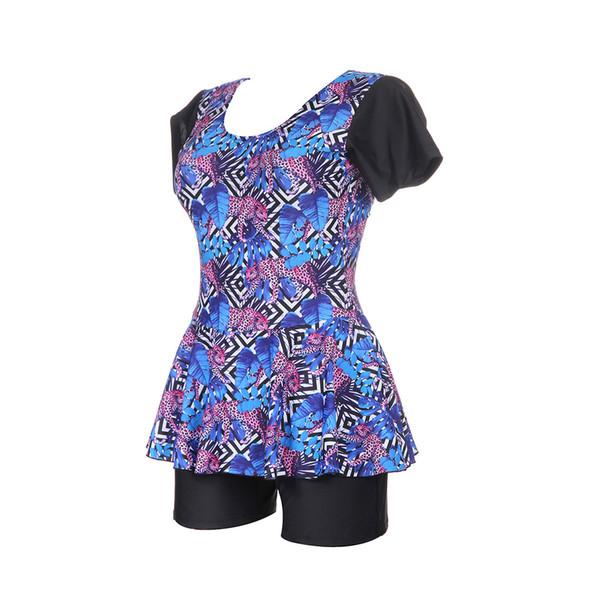 2018 Plus Size Two Piece Swimsuit Short Sleeve Swimwear Women Roupa de banho Print Floral Tankini Swim Suits Surfing Wear