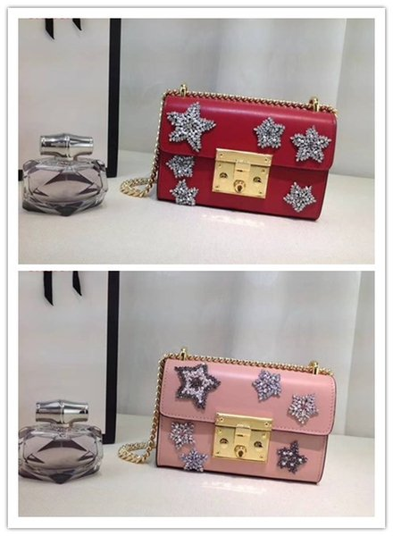 new arrival 2018 brand design crystal star pattern Embroidery Shoulder Bags Fashion Ladies chain Bags Genuine Leather Crossbody Bag