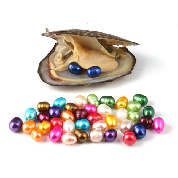 Perle naturali 6-7MM 2pz perla ovale in conchiglia di ostrica acqua dolce 15 colori perle gioielli per confezioni sottovuoto perle all'ingrosso ostrica