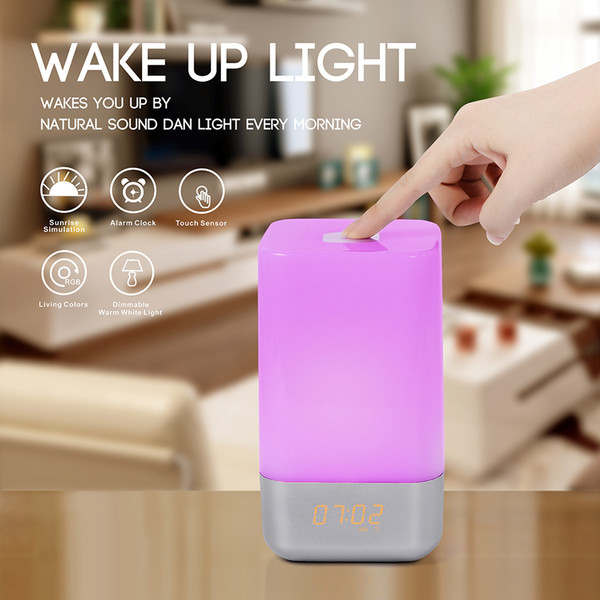Multi-function alarm clock wake up night light creative home bedroom bedside dimming LED small Digital Table Desktop alarm clock