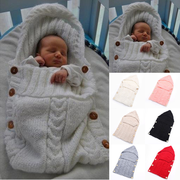 top popular High Quality Hot Sell Newborn Winter Handmade Knitted Sleeping Bag Blanket Wrap Layer Baby Cute Warm Sleeping Bag Free Shipping 2021