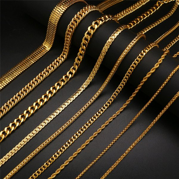 LuReen Chunky Gold Color Link Chain Necklace Men Hip Hop Long Necklace Twist Cuban Chain For Pendant 30inch Fashion Jewelry