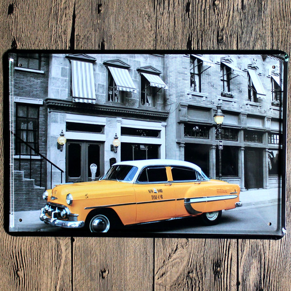 Parking Lot Scenery Nostalgic Ornaments Wall Decor Vintage Craft Art 12x8in Iron Painting Tin Poster Home Furnishing Decorati(Mixed designs)