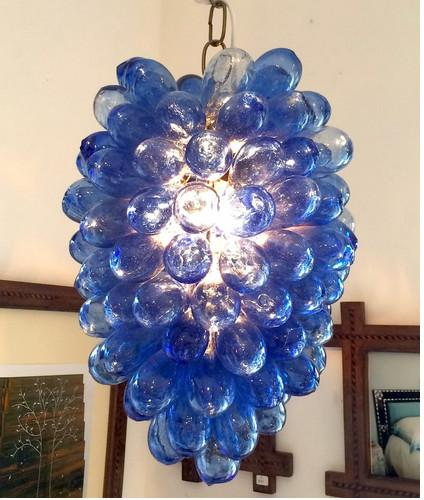 Elegant Blue and Clear Glass Bubble Chandelier LED Light Souce Hand Blown Murano Glass Chain Pendant Lighting for New House Decoration