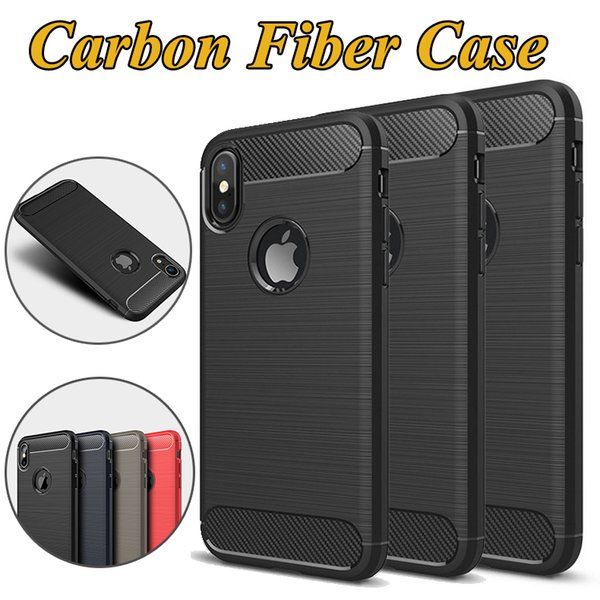 Rugged Armor Hybrid Carbon Fiber Shockproof Soft TPU Anti Shock Cover Case For iPhone XS Max XR X 8 7 Plus Samsung Galaxy Note 9 S10 Lite S9