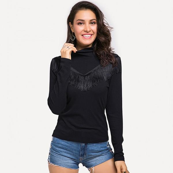 Women Casual Sweater Turtleneck Slim Knitted Sweater Fashion Lady Long Sleeve Tassel Black Top Women Pullovers Plus Size Talever