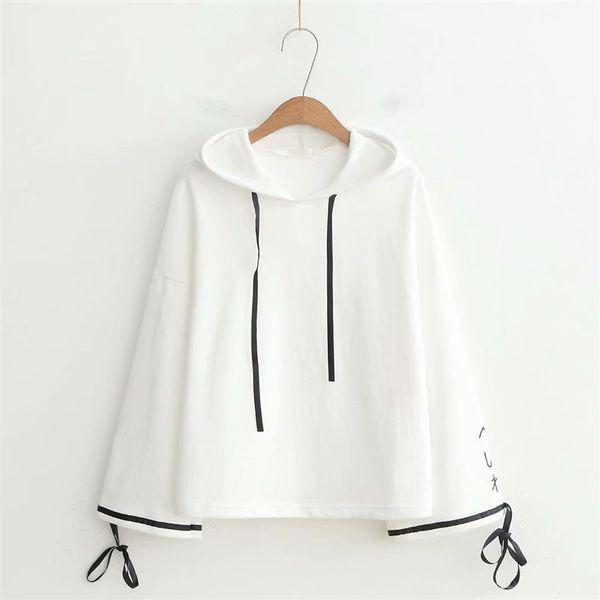 sweat à capuche blanc pour femme pull filles mori automne printemps style japonais à manches longues à capuche haut blanc à capuche