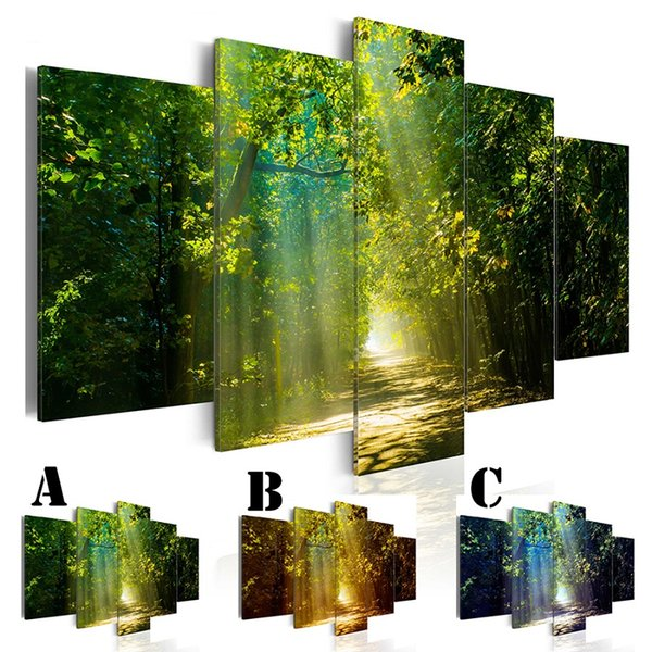 Wall Art Picture Printed Oil Painting on Canvas No Frame 5pcs/set Home Decor Extra Mirror Border Tree-lined Trail