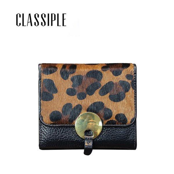 Wallet Women Genuine Leather Short Hasp Leopard Horse Hair Real Leather Womens Wallets Small Girls Purse Ladies Purses Monedero