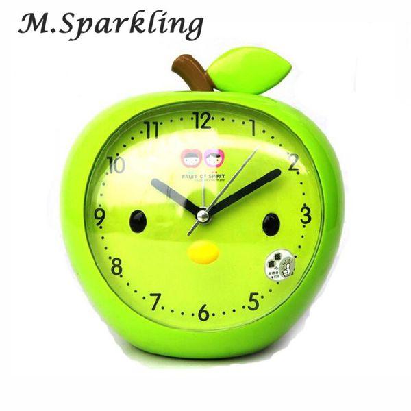 M.Sparkling Very Cute Apple Alarm Clock There Clock Girls for Children Sleeping Alarm Clocks 2018 New Style Clocks